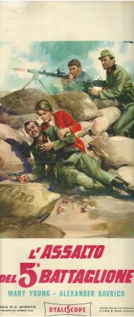 """1962 * Locandina Cinema """"Assalto del 5° Battaglione - Mary Young"""" Guerra (B)"""