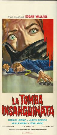"(1964) * Locandina Cinema ""La Tomba Insanguinata - Klaus Kinski"" Giallo (B-)"