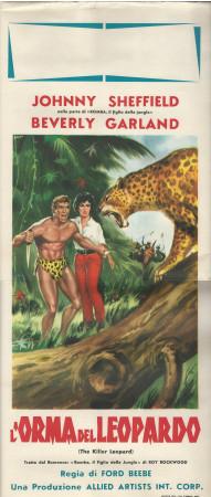 "1962 * Locandina Cinema ""L'Orma del Leopardo - B Garland, J Sheffield"" Avventura (B)"