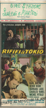 "(1962) * Locandina Cinema ""Rififi a Tokyo - Charles Vanel"" Giallo (C)"