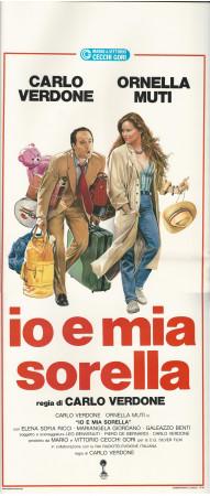 """1987 * Locandina Cinema """"Io e Mia Sorella - C Verdone, Ornella Muti"""" Commedia (B+)"""