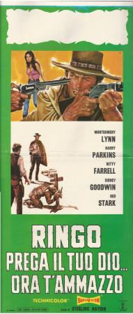 """1968 * Locandina Cinema """"Ringo, Prega il tuo Dio..Ora t'Ammazzo"""" Western (B)"""