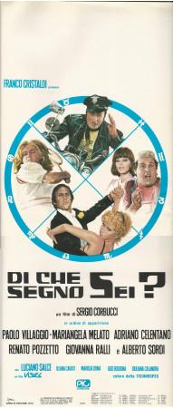 """1975 * Locandina Cinema """"Di Che Segno Sei? - Pozzetto, Villaggio, Sordi, Celentano """" Commedia (B+)"""