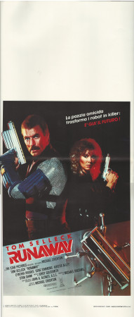 "1985 * Locandina Cinema ""Runaway - Tom Selleck, Cynthia Rhodes"" Avventura (A-)"