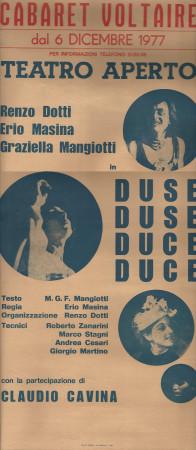 """1977 * Locandina Cinematografica Originale """"Duse Duse - Cabaret Voltaire"""""""