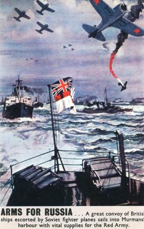 """ND (WWII) * Propaganda di Guerra Riproduzione """"Gran Bretagna - Armi Per La Russia"""" in Passepartout"""