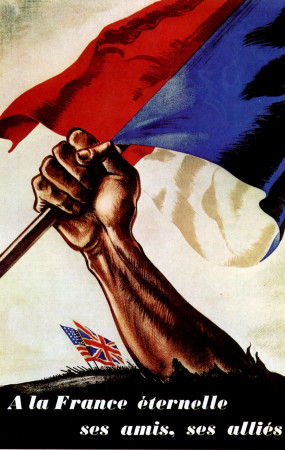"""ND (WWII) * Propaganda di Guerra Riproduzione """"Resistenza Francese - Alla Francia Eterna"""" in Passepartout"""