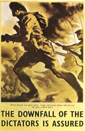"""ND (WWII) * Propaganda di Guerra Riproduzione """"Gran Bretagna - La Caduta Dei Dittatori È Certa"""" in Passepartout"""