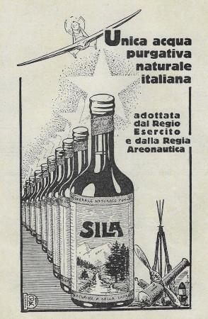"""1928 * Pubblicità Originale """"Sila - Acqua Purgativa Naturale Italiana - CRAC-VERONA"""" in Passepartout"""