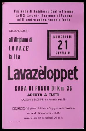 """1986 * Manifesto Poster Originale """"11° Lavazèloppet Passo Lavazè Val di Fiemme, Dolomiti - Sci Gran Fondo"""" Italia (A-)"""