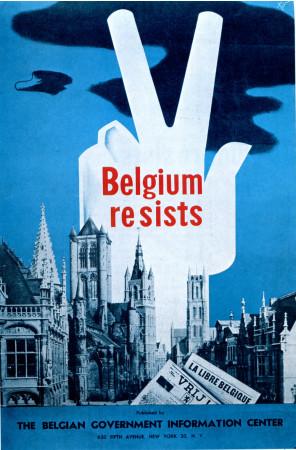 """ND (WWII) * Propaganda di Guerra Riproduzione """"Belgio - Il Belgio Resiste"""" in Passepartout"""
