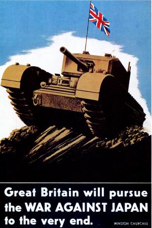 """ND (WWII) * Propaganda di Guerra Riproduzione """"Gran Bretagna - Continuerà a Combattere Contro Il Giappone"""" in Passepartout"""