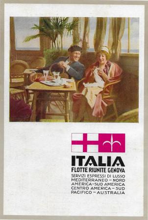 """1933 * Pubblicità Originale """"Italia Flotte Riunite Genova - ARTI GRAFICHE ALFIERI"""" in Passepartout"""