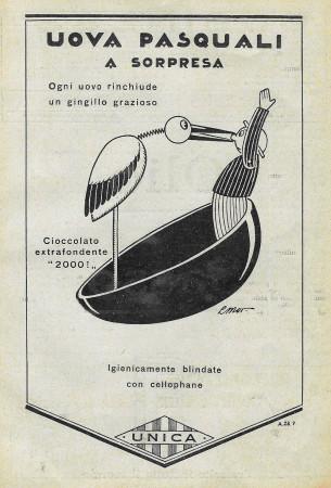 """1928 * Pubblicità Originale """"Unica - Uova Pasquali A Sorpresa"""" in Passepartout"""