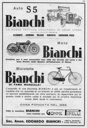 """1929 * Pubblicità Originale """"Bianchi - Auto, Moto, Biciclette"""" in Passepartout"""