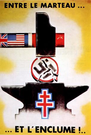 """ND (WWII) * Propaganda di Guerra Riproduzione """"Resistenza Francese - Tra Il Martello E L'Incudine"""" in Passepartout"""