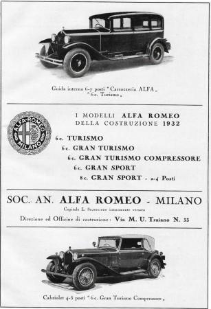 """1932 * Pubblicità Originale """"Alfa Romeo - Modelli"""" in Passepartout"""