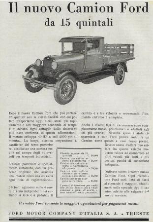 """1929 * Pubblicità Originale """"Ford - Il Nuovo Camion da 15 Quintali"""" in Passepartout"""