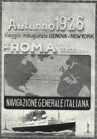 """1926 * Pubblicità Originale """"Navigazione Generale Italiana - Viaggio Inaugurale Genova - New York"""" in Passepartout"""