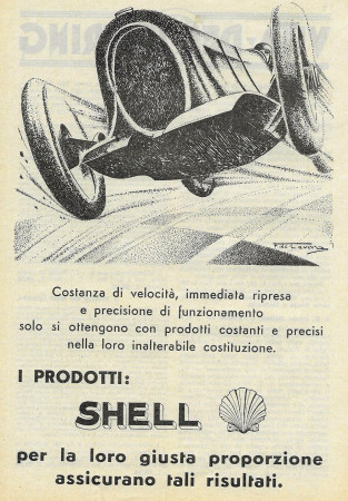 """1932 * Pubblicità Originale """"Shell - Giusta Proporzione e Risultati"""" in Passepartout"""