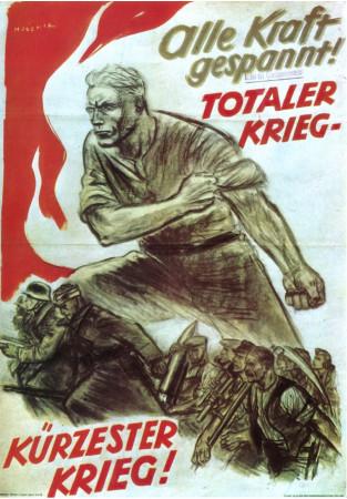 """ND (WWII) * Propaganda di Guerra Riproduzione """"Germania - Chiamate A Raccolta Tutte Le Vostre Forze!"""" in Passepartout"""