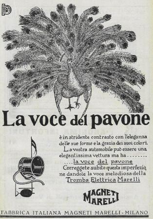 """1928 * Pubblicità Originale """"Magneti Marelli - La Voce Del Pavone"""" in Passepartout"""