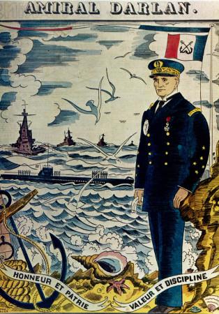 """ND (WWII) * Propaganda di Guerra Riproduzione """"Francia - Ammiraglio Darlan"""" in Passepartout"""