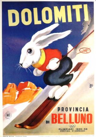 """1950 (2000) * Poster Turismo """"Dolomiti - Provincia di Belluno"""" Sabi (B+)"""