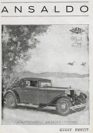 """1929 * Pubblicità Originale """"Ansaldo - Mod 14 e 15, Gomme Pirelli"""" in Passepartout"""
