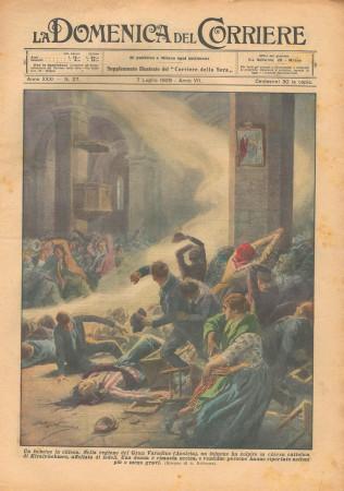 """1929 * Rivista Storica Originale """"La Domenica Del Corriere (N°27) - Un Fulmine In Chiesa"""""""