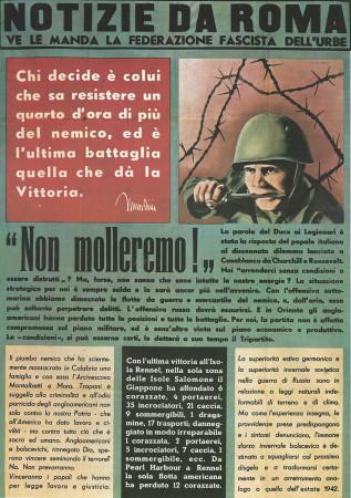 """ND (WWII) * Propaganda di Guerra Riproduzione """"Italia Fascista - Non Molleremo!"""" in Passepartout"""