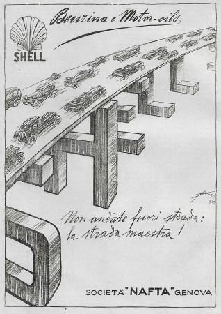 """1930 * Pubblicità Originale """"Shell - Benzina - ALDO MAZZA"""" in Passepartout"""