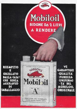 """1928 * Pubblicità Originale """"Mobiloil - Bidone Da 2 Litri"""" in Passepartout"""