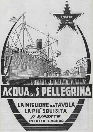 """1929 * Pubblicità Originale """"Acqua S.Pellegrino - La Migliore Da Tavola - PLUSULTRA"""" in Passepartout"""