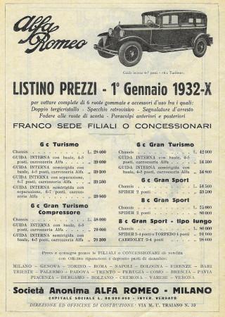 """1932 * Pubblicità Originale """"Alfa Romeo - Listino Prezzi 01/01/1932"""" in Passepartout"""