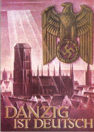 """ND (WWII) * Propaganda di Guerra Riproduzione """"Germania - Danzica È Tedesca"""" in Passepartout"""
