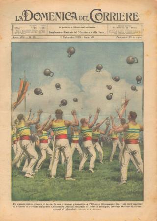 """1929 * Rivista Storica Originale """"La Domenica Del Corriere (N°35) - Un Caratteristico Giuoco Di Forza"""""""