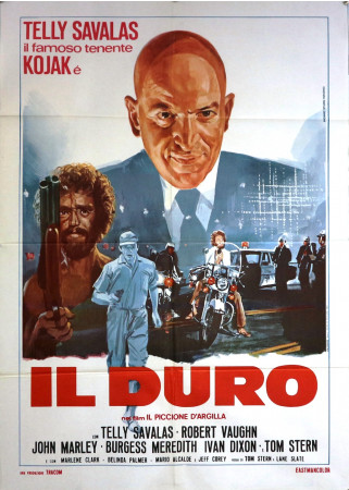 """1971 *  Manifesto 2F Cinema """"Il Duro - Il Piccione d'Argilla - Telly Savalas, Robert Vaughn"""" Poliziesco (B+)"""