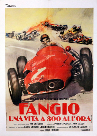 "1980 * Manifesto 2F Cinema ""Fangio Una Vita a 300 all'Ora – Juan Manuel Fangio"" Documentario (B+)"
