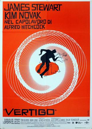 """1958 * Manifesto 2F Cinema """"Vertigo - La Donna che Visse Due Volte - Kim Novak, James Stewart"""" Giallo (B+)"""