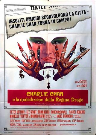 """1981 * Manifesto 2F Cinema """"Charlie Chan e la Maledizione della Regina Drago - Peter Ustinov, Michelle Pfeiffer"""" Giallo (B+)"""