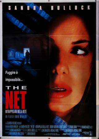 """1995 * Manifesto 2F Cinema """"The Net - Intrappolata nella Rete - Sandra Bullock, Jeremy Northam"""" Giallo (B+)"""