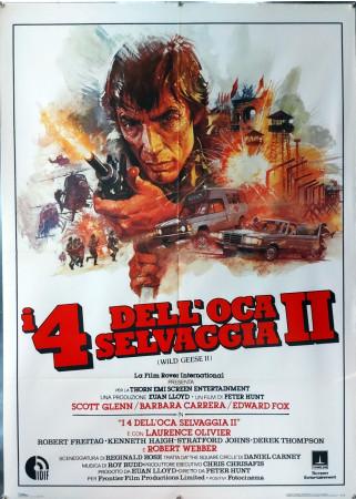 """1985 * Manifesto 2F Cinema """"I Quattro Dell'Oca Selvaggia II - Scott Glenn, Barbara Carrera"""" Avventura (B+)"""
