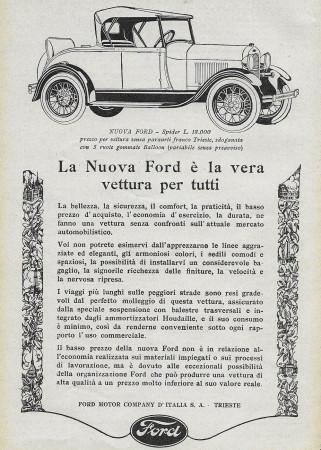 """1928 * Pubblicità Originale """"Ford - Spider"""" in Passepartout"""