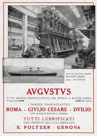 """1928 * Pubblicità Originale """"Navigazione Generale Italiana - Augustus - Il Più Grande Transatlantico"""" in Passepartout"""