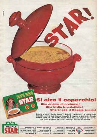 """Anni '60 * Pubblicità Originale """"Star Doppio Brodo, Si Alza il Coperchio! Che Ondata di Profumo!"""" in Passepartout"""
