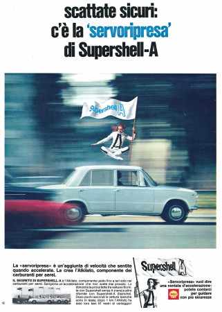 "Anni '60 * Pubblicità Originale ""Shell, Scattate Sicuri: C'è La Servoripresa di Supershell-A"" in Passepartout"