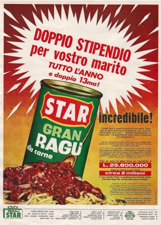 """Anni '60 * Pubblicità Originale """"Star Gran Ragù alla Carne, Doppio Stipendio per Vostro Marito """" in Passepartout"""