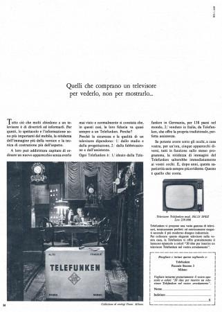 """Anni '60 * Pubblicità Originale """"Telefunken, Un Televisore per Vederlo, Non per Mostrarlo..."""" in Passepartout"""