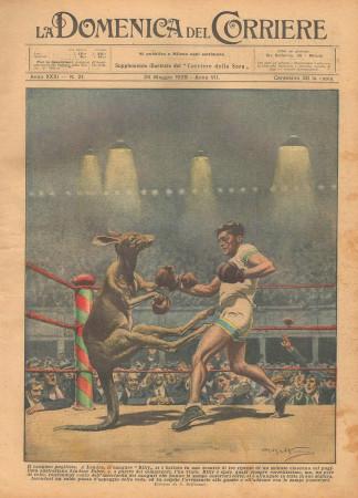 """1929 * Rivista Storica Originale """"La Domenica Del Corriere (N°21) - Il Canguro Pugilista"""""""